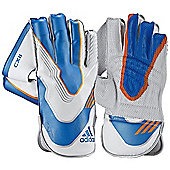 adidas CX11 Mens Cricket Wicket Keeping Keeper Gloves White/Blue - Mens