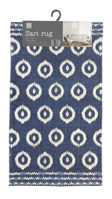 Country Club Zari Design Printed Rug Navy