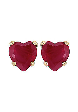 Gemondo 9ct Yellow Gold 0.52ct Ruby Single Stone Heart Stud Earrings