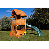 Selwood Carrick Fort Climbing Frame - Curved Slide and Playhouse
