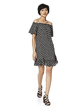 F&F Tile Print Bardot Dress - Black