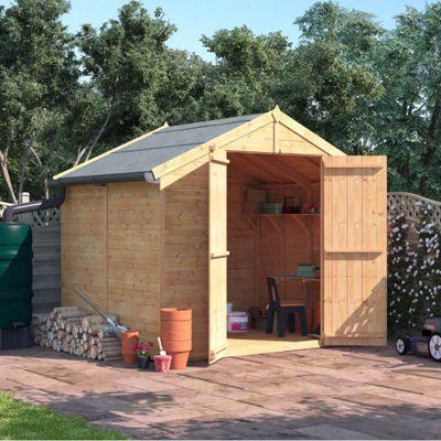6x8 Tongue and Groove Wooden Garden Shed Double Door Windowless Apex Premium Roof Floor Felt - 6ftx8ft