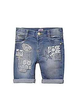 F&F Embroidered Patch Denim Shorts - Blue