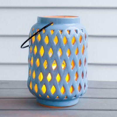 Powder Blue Ceramic Battery LED Candle Lantern