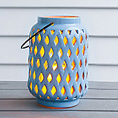 Powder Blue Ceramic Battery LED Candle Lantern