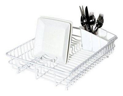 Delfinware Plastic Coated Large Rectangular Dish Sink Drainer with Cutlery Basket in White