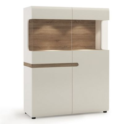 Linate Low Display Cabinet 109cm Wide White Gloss