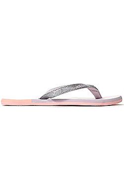 adidas Eezay Glitter Womens Thong Sandal Flip Flop Pink - Pink