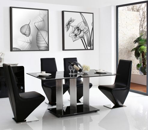 Vienna Black Glass 160 cm Dining Table with 6 Black Rita Chairs