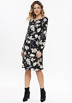 Wallis Floral Print Swing Dress - Black multi