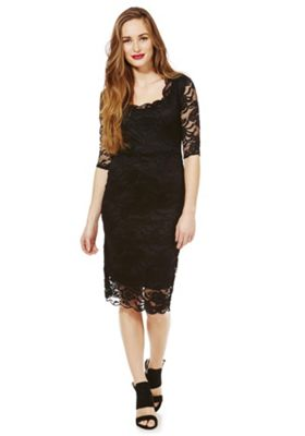 Feverfish Lace Scallop Dress 18 Black