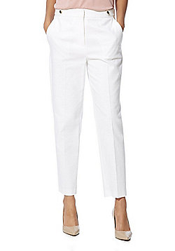 F&F Pique Ankle Grazer Mid Rise Slim Leg Trousers - White
