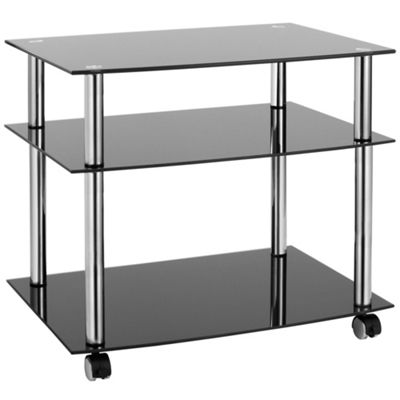 VonHaus 3 Tier Glass TV Stand Trolley
