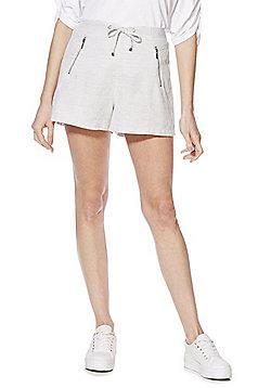 F&F Zip Detail Linen-Blend Shorts - Grey