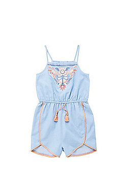 F&F Embroidered Chambray Playsuit - Light blue