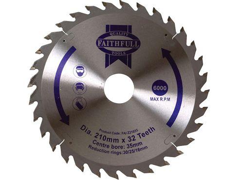 Faithfull Circular Saw Blade 210 x 16/25/30/35 x 32T Fine Finish