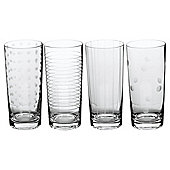 Set of 4 Mikasa Etched Hiball Glasses