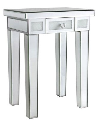 Diamond Crush Mirror End Table with One Drawer - Modern & Stylish