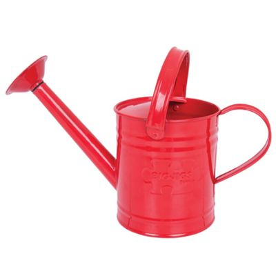 Bigjigs Toys Children's Red Watering Can with Top and Side Handle - Garden Tools for Kids