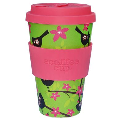 Ecoffee Cup Widdlebirdy with Pink Silicone 14oz