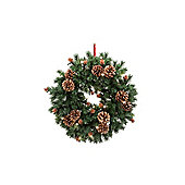 Pre Lit Pine and Cone Christmas Wreath, 38cm
