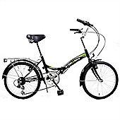 """Stowabike 20"""" Folding City V2 Compact Foldable Bike - 6 Speed Shimano Gears Black"""
