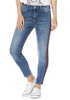 F&F Side Stripe Mid Rise Skinny Jeans Mid Wash 8 Regular leg