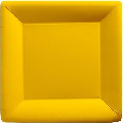 Yellow Square Plates - 26cm Paper Party Plates - 20 Pack