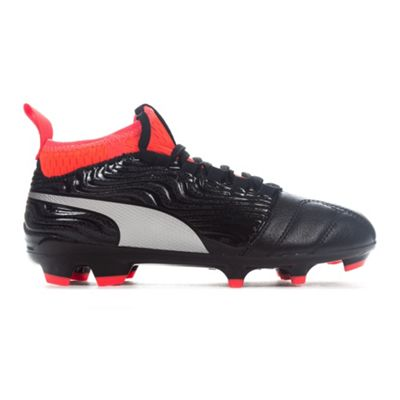 Puma One 18.3 FG Firm Ground Kids Football Boot Shoe Black/Red - UK 1