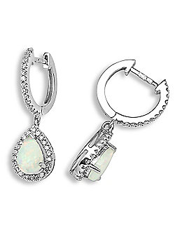 Jewelco London 18 Carat White Gold Diamond-30pts Opal-71pts Drop Earring