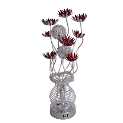 Aluminium Flower Table Lamp, Silver & Red