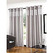 Hamilton McBride Glitz Lined Eyelet Silver Curtains - 46x54 Inches (117x137cm)