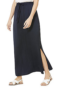 Vila Hammered Satin Maxi Skirt - Navy