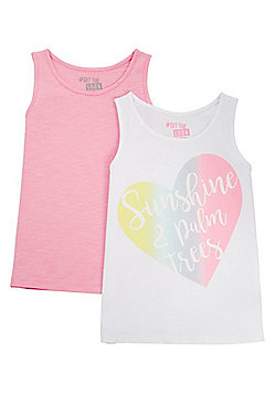 F&F 2 Pack of Plain and Rainbow Heart Vest Tops - White Multi