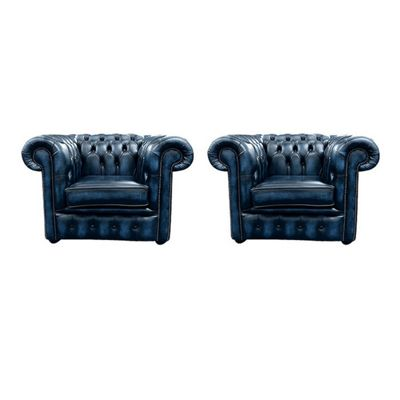 Chesterfield 2 x Club Chairs Leather Sofa Suite Antique blue