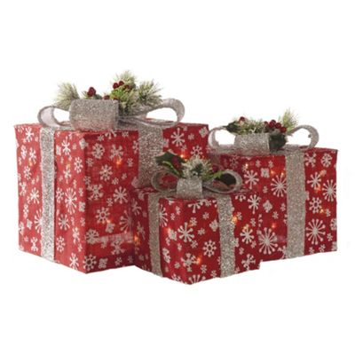 3 Decorated LED Lit Parcels (Battery Operated)