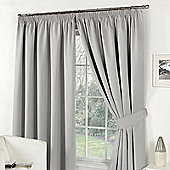 Dreamscene Pencil Pleat Lined Pair Thermal Blackout Curtains, Silver - Silver