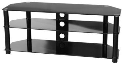 Peerless Hudson F-HUD1200/BK Black Glass TV Stand
