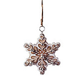 Large Hanging White Wooden Snowflake Christmas Tree Decoration with Bells