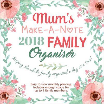 Mum's Make-A-Note 2018 Family Organiser Square Wall Calendar 30x30cm
