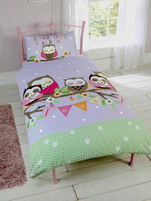 Goodnight Sweetheart Owls Single Duvet Cover Set