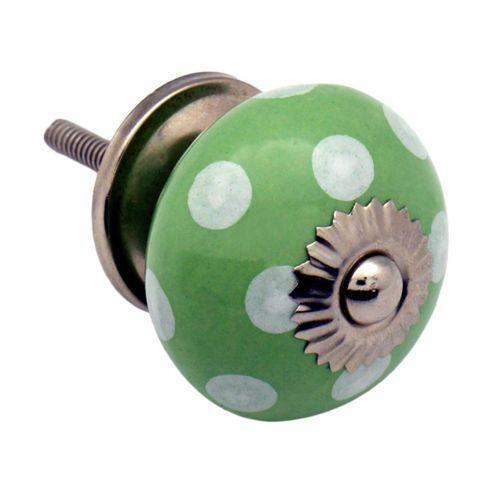 Ceramic Cupboard Drawer Knob - Polka Dot Design - Green / White