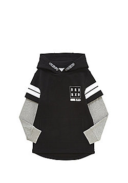 F&F Bronx Slogan Mock Layer Long Line Hoodie - Black