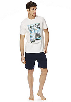 F&F Surf Photographic T-Shirt and Shorts Loungewear Set - Navy