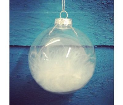 White Feather Clear Glass Christmas Bauble (8cm) by Premier