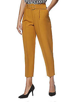 F&F Belted Tapered Trousers - Mustard