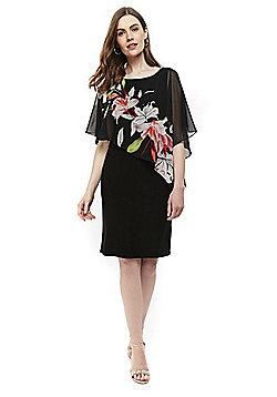 Wallis Spring Lily Asymmetric Dress - Black