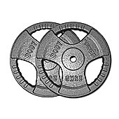 Body Power Standard (1 Inch) Tri Grip Discs - 25Kg (x2)