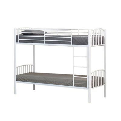 Comfy Living 3ft Single Children's Slatted Metal Bunk Bed in White with 2 Basic Budget Mattresses