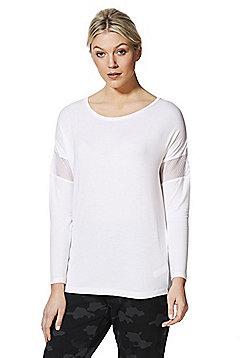 F&F Active Mesh Insert Long Sleeve T-Shirt - White